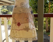country skirt, embroidered cotton, crochet, bohemian, s / m