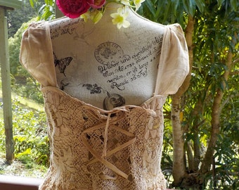 """wildflower lace up top, bohemian corset style, vintage lace, up to 38"""" bust"""
