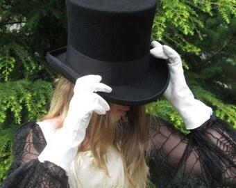 Wool Felt Top Hat- Black Szs: Med, L, & XL