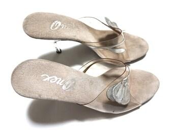 EVERYTHING TEN SALE 6.5 clear plastic heel leaf open peep toe womens vintage 6 six shoes pumps heels women avant garde art nouveau formal