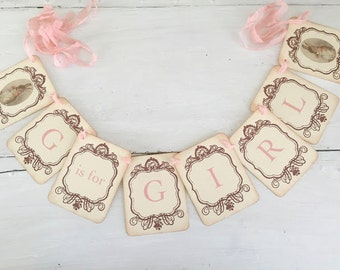Bunny Tea Party Banner Baby Shower Garland G is for Girl