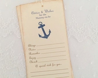 Anchor Advice and Wishes Tags Baby Shower Tree Tags Nautical Mommy to Be