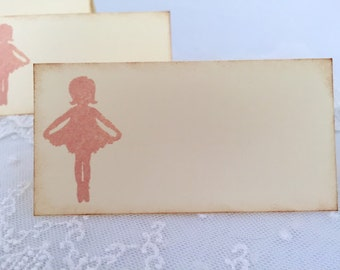 Ballerina Place cards / Placecards Food Buffet Signs Ivory and Pink Set of 10