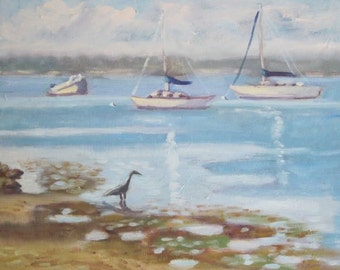 Original Framed Plein Air Oil Painting Sailboats And Heron