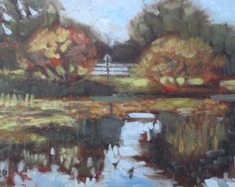 Original Plein Air Oil Painting Pond and Trees