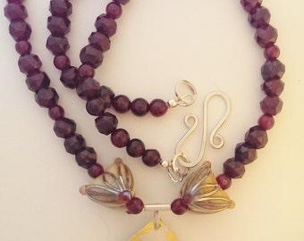 Artisan Beads, Kheumboo, and Garnet Necklace