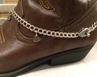Boot Candy Winter anklet jazz 'em boots up chain hearts one of a kind fancy claw closure