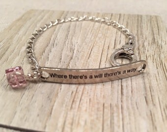 """Determination inspirational bracelet """"Where there's a will there's a way""""  Silver Tone Base metal Pretty Pink Square Swarovski Crystal bead"""