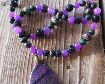 Ruby Zoisite Lavender Jade Amethyst and Agate Beaded Necklace with Jasper Pendant
