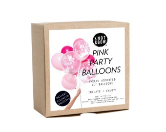 Pink Party Balloons / Includes 3 Confetti Balloons / 12 count