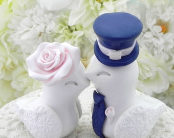 Love Birds Wedding Cake Topper, White, Blush Pink and Navy Blue, Bride and Groom Keepsake, Fully Customizable