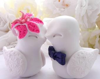 Love Bird Wedding Cake Topper, Navy Blue and Pink, Stargazer Lily Flower,  Bride and Groom Keepsake