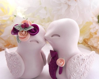 Love Birds Wedding Cake Topper, Beige, Sangria, and Peach - Bride and Groom Keepsake, Fully Custom
