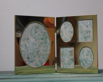 Vintage Brass Bi-Fold Picture Frame