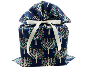 Large Fabric Gift Bag with Beautiful Menorahs for Hanukkah on Dark Blue Cotton with Gold Accents