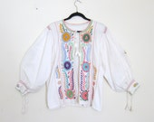 RESERVED Vintage Bohemian Hippy Embroidered Peasant Top Cardigan Colorful Ethnic Floral Pleated Bohemian Cotton Blouse Size OSFM