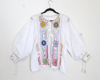 Vintage Bohemian Hippy Embroidered Peasant Top Cardigan Colorful Ethnic Floral Pleated Bohemian Cotton Blouse Size OSFM