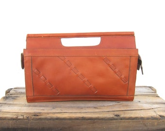 Tan Handled Clutch 70s Leather