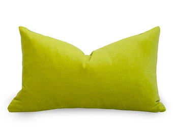 Cotton Velvet Pillow Cover - Lime - Chartreuse - Lime Green Pillow - Velvet Pillow - Orange Pillow - Decorative Pillow