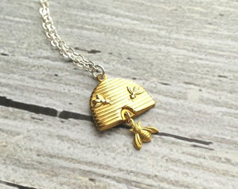 Bee Necklace - sterling silver delicate chain with gold brass honey beehive pendant and little bumblebee dangle charm - The Beekeeper
