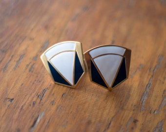 White, Blue and Gold 80's Clip On Earrings