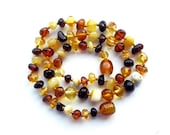 "14"" Natural Baltic Amber child necklace,  teenager neclace, polished beads, mixed colors amber necklace, round beads"