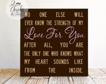 No One Else Will Ever Know The Strength Of My Love (Brown) Wood Baby Sign