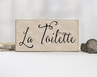 La Toilette Bathroom Sign, Bathroom Wall Decor, Bathroom Sign