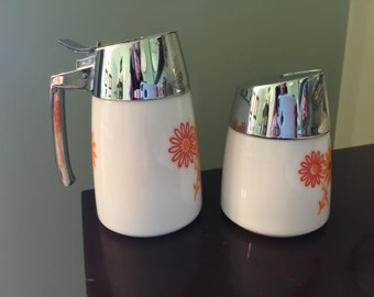 Dripcut Sugar & Creamer Milkglass Orange and Red Flowers