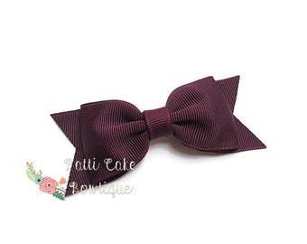 Girls Bows, Hair Accessories, Little Girls Hair Clip, Baby Girl Hair Bows, Baby Bows,  Plum Hair Bow, Toddler Girl Birthday Gift
