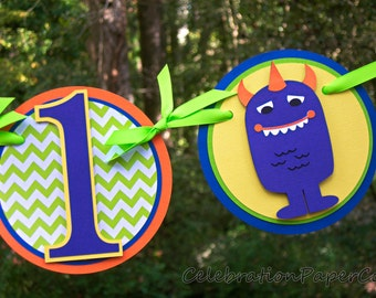 Little Monster Highchair Birthday Banner in Blue, Orange, Green, and Yellow