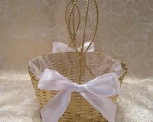 Flower Girl Basket - Gold Metal Wire Basket - Dressed Up and Wedding Ready