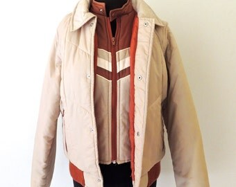 vintage convertible puffy jacket - 1970s-80s VanCort tan puffy jacket/vest w/ zip off sleeves