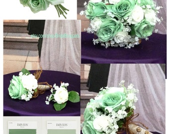 """New Artificial Meadow Bridal Bouquet 9"""" in Diameter, Meadow Green Wedding Flowers, Country Chic Meadow Bridal Bouquet"""