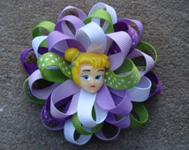Tinkerbell hair bow round hair bow medium Hair Bow round loopy hair bow disney hair bow purple and green hair bow