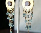 VALENTINES SALE INTO the Night ///Handcrafted Druzy Earrings /// Blue Topaz, Apatite /// 24kt Gold dipped, 14kt Gold Fill