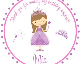 Princess Birthday Party Sticker -- personalized birthday sticker --  favor tag,  custom sticker, personalized stickers - any hair color