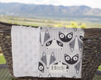 Snuggle White Dot Minky Fleece with Gray Fox, Cat, & Raccoon Face Flannel, Stroller Blanket, Lovey Blanket, Gender Neutral