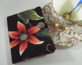 Tea Bag Wallet Exotic Floral on Willoughby Black Duck  with Batik Lining