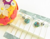 Jeweled Sewing Pins in Aqua with Daisy and Millefiori