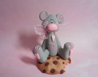FREE SHIPPING! Polymer Clay Sweet Gray Mouse Sitting on Chocolate Chip Cookie - FIGURINE Clay Babies Helen Terlalis Dorn gray sweets pink