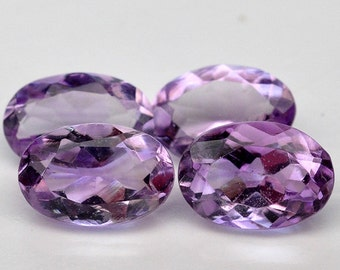 4 Piece  Excellent Natural Genuine Gem Oval Purple Amethyst - Free shipping