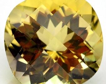 13.51 Ct. Nice Natural Genuine Gem Cushion Checkerboard Top Golden Yellow Quartz - Free shipping