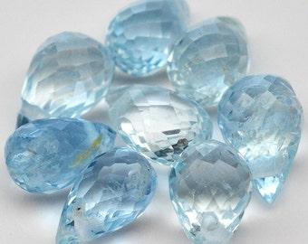 8 Piece Natural Gemstone Briolette Drill Sky Blue Aquamarine - Free shipping