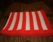 Knit Red & White Baby Blanket / Afghan / Lapghan With Crochet Trim