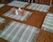 Placemats, sage and cream, woven rag rug style, Made in USA