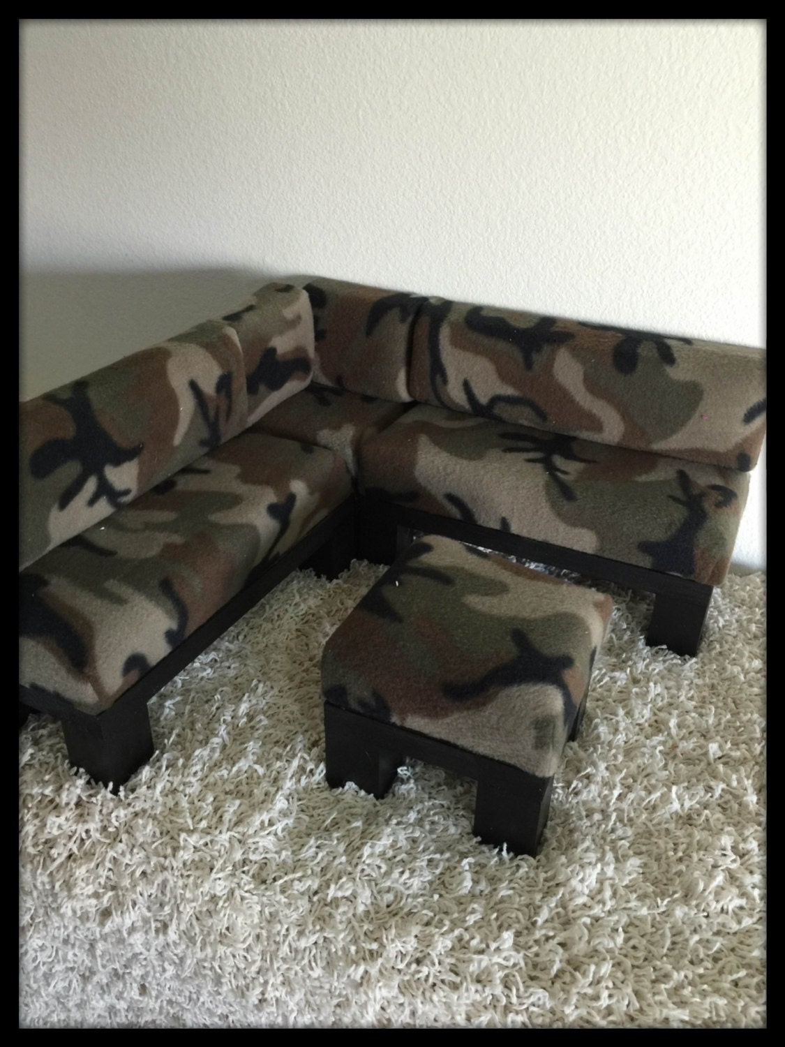 Camo camouflage sectional set with ottoman chaise for american for Camo chaise lounge