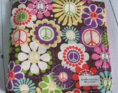Ready to ship // Michael Miller Retro-mod Flowers Embellished with Peace Signs Fabric and Pink Minky Dot Security Blanket Lovey