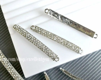 10pcs High quality curved side ways Crystal Rhinestones Bracelet Connector in silver color.
