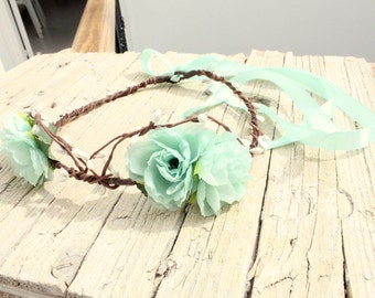 JADE Robin egg blue Flower Girl Halo Wedding Bridal hair wreath Turquoise floral crown couronne fleur Woodland Crown, Bridal Flower Crown